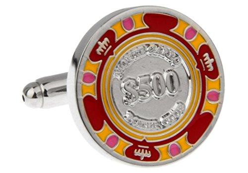 MRCUFF Poker Chip $500 Poker Gambling Casino Pair Cufflinks in a Presentation Gift Box & Polishing Cloth