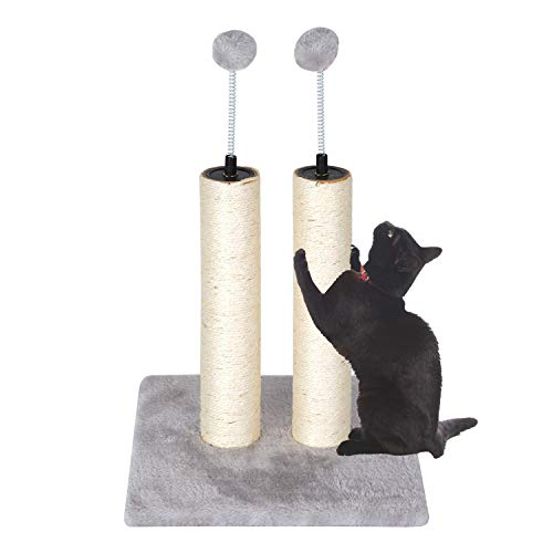 Kazura 20' Tall Cat Scratching Post with Natural Sisal Rope, 2 Posts and 2 Spring Teasing Plush Balls for Kittens