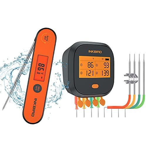 Inkbird WiFi Grill Thermometer, Rechargeable Digital BBQ Grill Thermometers with Alarm Timer Graph Chart Calibration Magnet for Deep Fry Oven Baking Brewing (Instant Fast Read Thermometer Included)