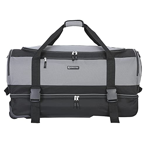 Travelers Club Pinnacle Travel Rolling Duffel Bag, Light Grey, Checked-Large 30-Inch