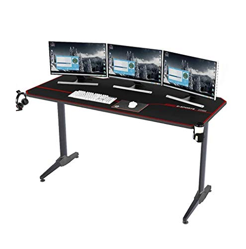 Soges 55 inches Gaming Desk Computer Desk Computer Gamer Desk Pro Table Ergonomic PC Desk with USB Charger Cup Holder and XL Mouse Pad