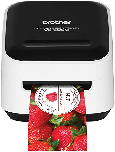 Brother VC-500W Versatile Compact Color Label and Photo Printer with Wireless Networking, White, 3.8' x 4.4' x 4.6' (VC500W)