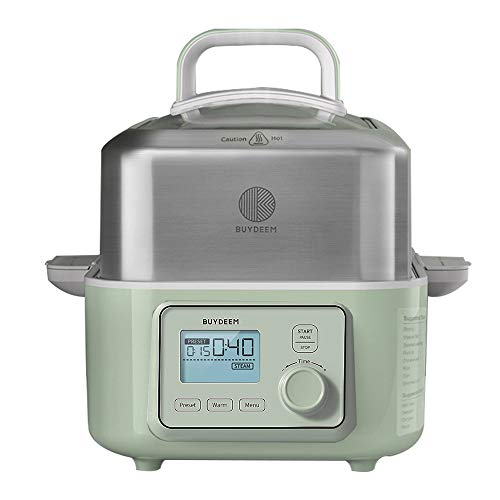 BUYDEEM G563 5-Quart Electric Food Steamer for Cooking, One Touch Vegetable Steamer, Digital Multifunctional Steamer, Quick Steam in 60s, Stainless Steel Steamer Tray & Glass Lid, Cozy Greenish, 1500W