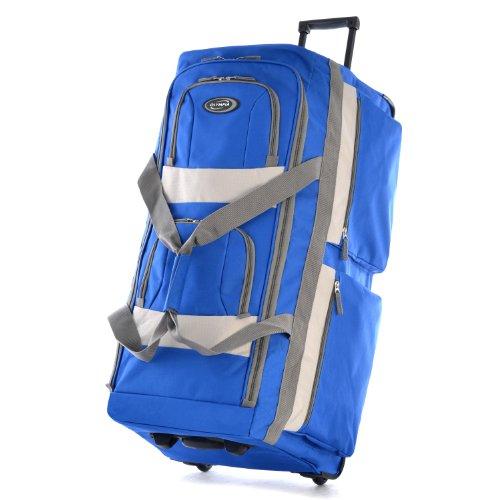 Olympia 8 Pocket Rolling Duffel Bag, Royal Blue, 26 inch