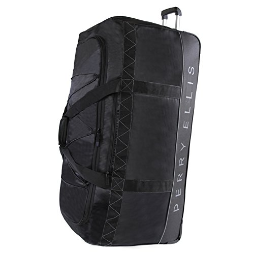 Perry Ellis Men's Extra Large 35' Rolling Duffel Bag-A335, Black/Grey, One Size