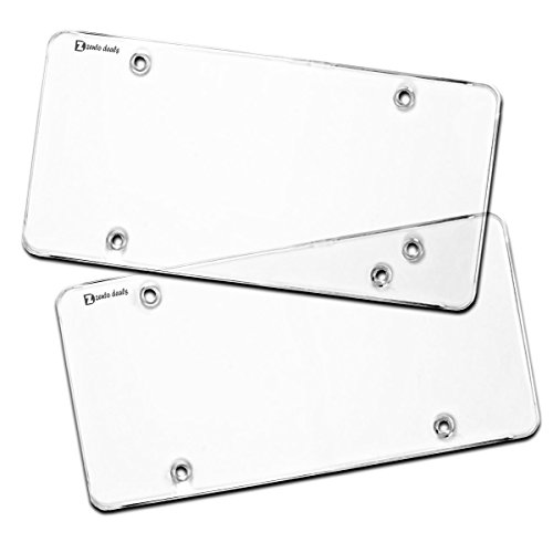 Zento Deals Flat Clear License Plate Cover - 2 Pack of Heavy-Duty All Weather License Plate Shield That Fits All Standard 6x12 Inches License Plate