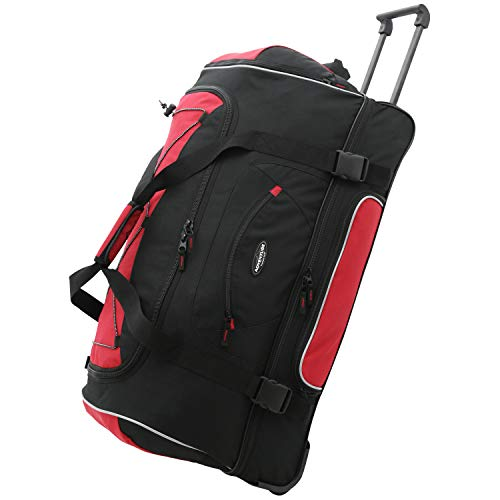 Travelers Club Unisex-Adult Adventure Upright Rolling Duffel Bag, Red, 22-Inch