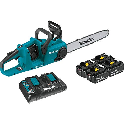 Makita XCU04PT1 (36V) LXT Lithium-Ion Brushless Cordless (5.0Ah) 18V X2 16' Chain Saw Kit with 4 Batteries, Teal