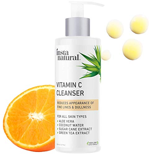 InstaNatural Facial Cleanser - Vitamin C Face Wash - Breakout & Blemish & Wrinkle Reducing, Exfoliating Gel - Clear Pores on Oily, Dry & Sensitive Skin with Organic & Natural Ingredients - 6.7 oz