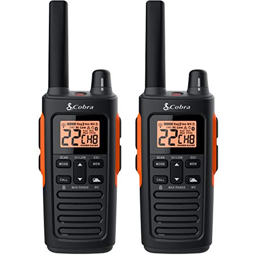 Cobra RX680 2 Watt Rugged Walkie Talkies - Waterproof & Dustproof, Rechargeable, Long Range up to 38-Mile Two Way Radio with NOAA Weather Alert & VOX (2 Pack)