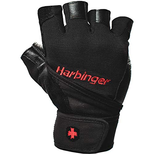 Harbinger Pro Wristwrap Weightlifting Gloves with Vented Cushioned Leather Palm (Pair), Large , Black