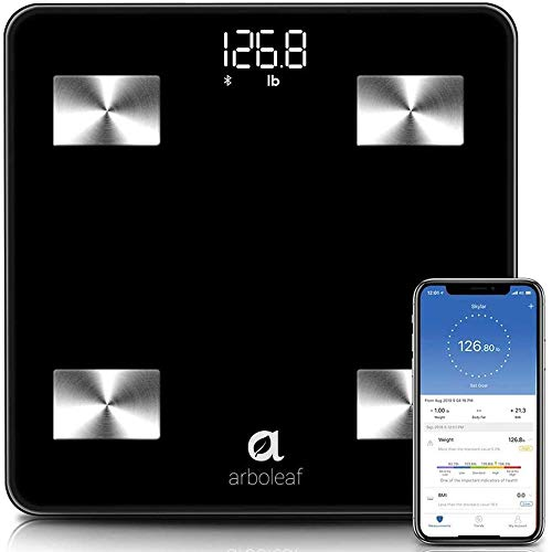 Arboleaf Smart Scale, Weight Scale Bluetooth Bathroom Scale, 10 Body Composition, iOS Android APP, Unlimited Users, Auto Recognition, Fat, BMI, BMR, Muscle Mass
