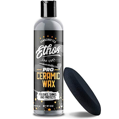 Ethos Ceramic Wax PRO - Aerospace Coating Protection   Ceramic Polish and Top Coat   Deep Mirror Shine   Slick, Hydrophobic Finish - Foam Applicator Included