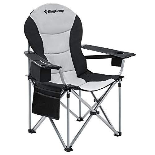 KingCamp Camping Chair with Lumbar Back Support, Padded Folding Chair with Cooler, Armrest, Cup Holder, Oversized Quad Camp Chair Heavy Duty, Supports 350 lbs, Black-1 Pack