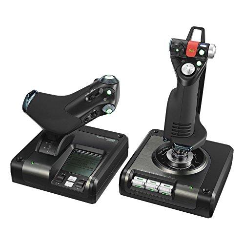 Logitech G Saitek X52 Pro Flight Control System, Controller and Joystick Simulator, LCD Display, Illuminated Buttons, 2xUSB, PC - Black/Silver