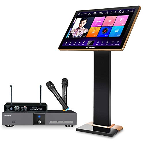 InAndOn KV-V5 Pro Karaoke Machine, 22' Touch Screen Karaoke Player with Wireless Microphone, YouTube Movie Song WiFi Cloud Download, Professional Karaoke System Fit for Home Party KTV DJ Bar