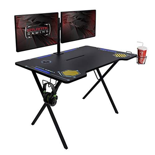 Atlantic Gaming Desk Viper 3000-45+ inches Wide, LED Illumination, Three USB 3.0 Ports, Tablet/Phone Slot, Cup Holder, Dual Headphone Hooks, Storage Tray, Satin Finish Surface, PN33906164