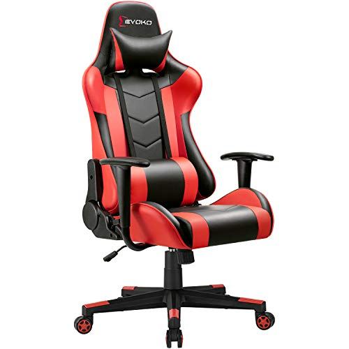 Devoko Ergonomic Gaming Chair Racing Style Adjustable Height High Back PC Computer Chair with Headrest and Lumbar Support Executive Office Chair (Red)