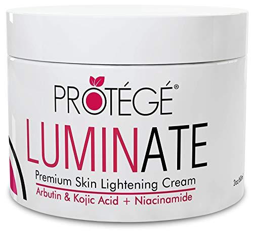 Premium Skin Lightening Cream - Luminate- 100% Natural Skin Bleaching for Underarm, Body, Face, Intimate and Sensitive Areas - Whitening with Arbutin + Kojic Acid + Niacinamide for Women and Men - 2oz