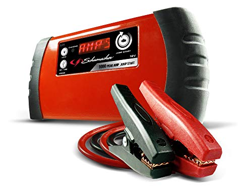 Schumacher Lithium Ion Jump Starter and Portable Power Pack with Case and USB, 12V DC Charging Ports 1000 Amp