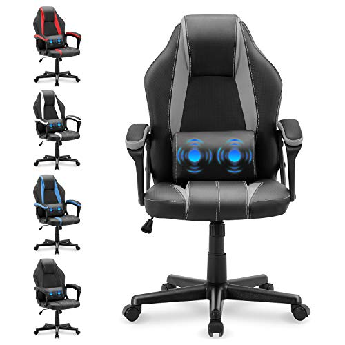 Yaksha Gaming Chair Massage Office Chair Ergonomic Computer Chair Gamer Chair Video Game Chairs with Lumbar Support Armrests Headrest Racing Chair for Teens Adults Men Women(Flash Gray)