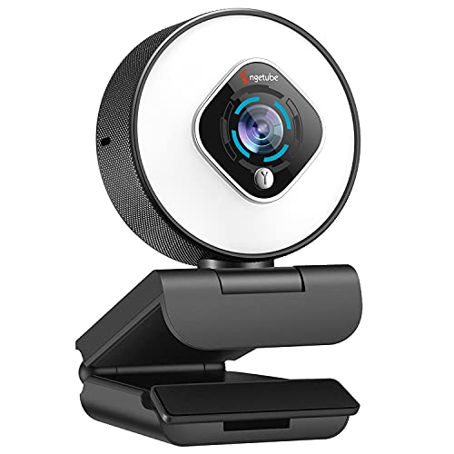 Streaming Webcam with Ring Light - 1080P Computer Camera with Microphone Autofocus USB Camera with Digital Zoom for Xbox Gaming