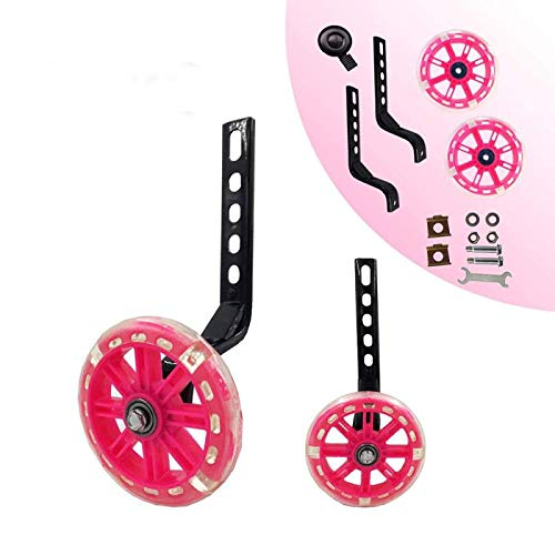 HUWAY training wheels flash mute wheel bicycle stabiliser mounted Kit compatible for bikes of 12 14 16 18 20 Inch, 1 Pair(Pink)