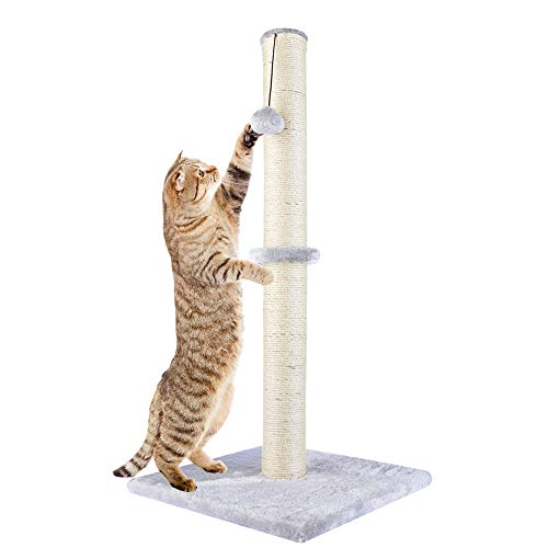 Dimaka 29' Tall Cat Scratching Post for Big Cats, Natural Sisal Rope Pole and Teasing Toy Ball on Top, Big Cat Vertical Scratch (Light Grey)