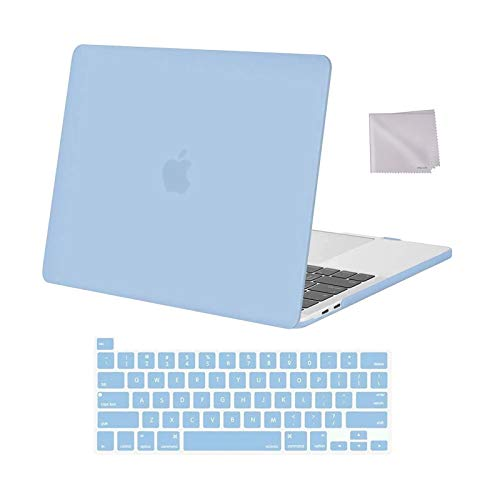 MOSISO Compatible with MacBook Pro 13 inch Case 2016-2020 Release A2338 M1 A2289 A2251 A2159 A1989 A1706 A1708, Plastic Hard Shell Case & Keyboard Cover Skin & Wipe Cloth, Airy Blue