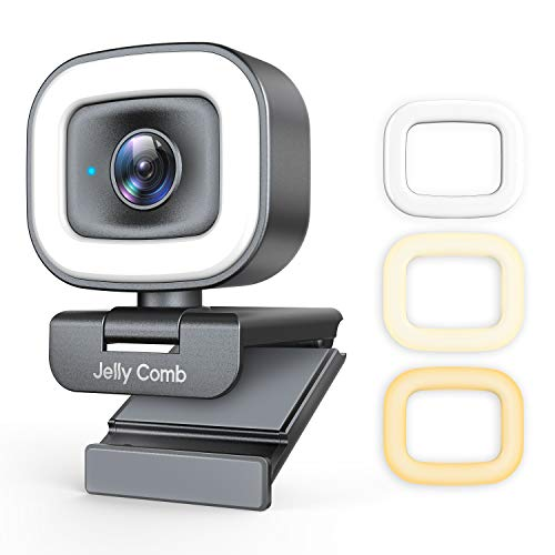 60FPS Webcam with Ring Light and Dual Microphone, Jelly Comb 1080P Autofocus Streaming Web Camera with Privacy Cover for Desktop/Laptop/PC/Mac,Zoom/Skype/YouTube