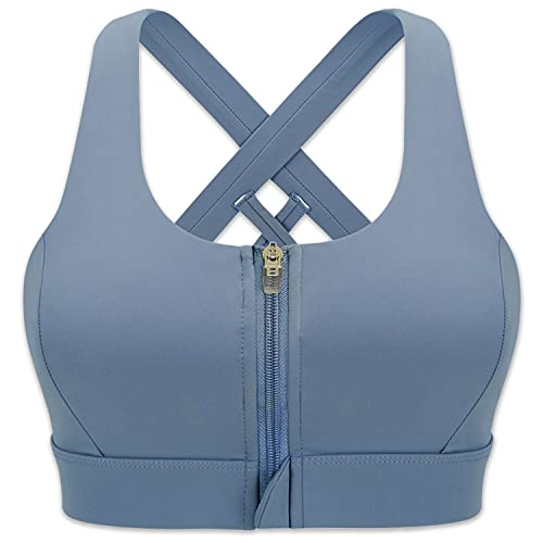 Cordaw Zipper in Front Sports Bra High Impact Strappy Back Support Workout Top, Blue Large