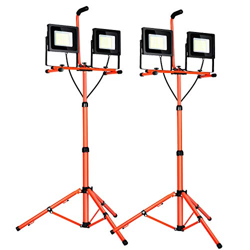 100W 10000 Lumen Dual-Head LED Work Light with Metal Telescopic Tripod Stand,Work Light with Stand Rotating Waterproof Lamps(2 pack)