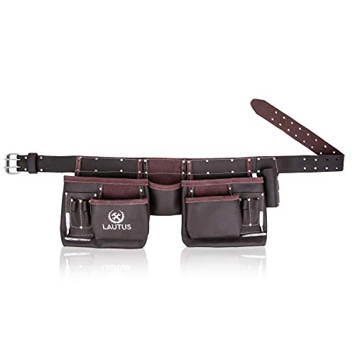 LAUTUS Oil Tanned Leather Tool Belt/Pouch/Bag, Carpenter, Construction, Framers, Handyman, Electrician - 100% LEATHER