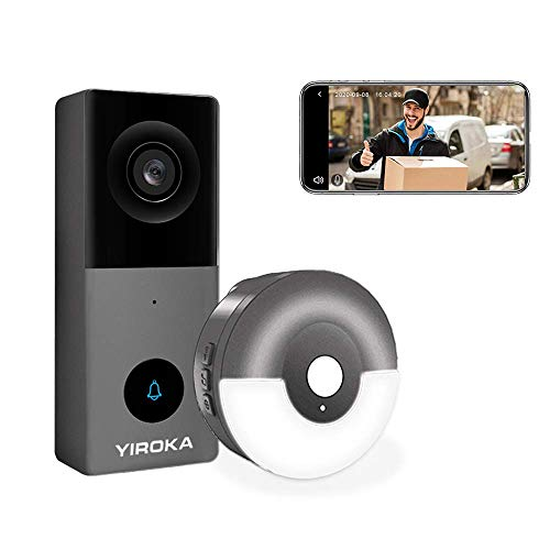 YIROKA Wired Video Doorbell Camera, Support Amazon Alexa and Google Assistant , Cloud Storage, Max. 128GB SD Card, 2.4G WiFi, 1080P HD, IP55 Waterproof, Motion Detector, with Night Light Chime