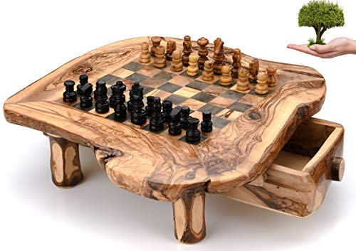 OLIVIEU ~ Handcrafted Olive Wood Chess Board ~ 13 inches ~ Chess Set Wood with Drawers ~ Limited Edition Chess Game ~ Durable Hard Wood Chess Set