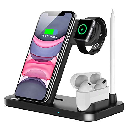 QI-EU Wireless Charger, 4 in 1 Fast Wireless Charging Station Compatible with Apple Watch Airpods Pro iPhone 12/12 Pro/11/11 Pro/8/X, Wireless Charging Stand Compatible with Samsung
