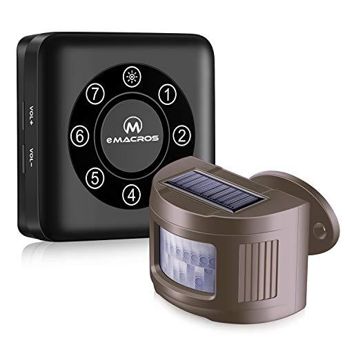 eMACROS Pairable 1/2 Mile Long Range Solar Wireless Driveway Alarm Indoor Outdoor Weatherproof Motion Sensor&Detector Security Alert System (No Sensitivity Switch)