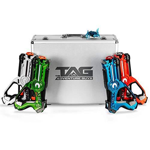 The Adventure Guys Deluxe Lazer Tag Gun Set with Designer Case - Laser Tag Guns Set of 4 for the Whole Family - Premium Lazer Tag Set w/ Bonus Bitsy Bot for Target Practice - Fun Laser Tag for Kids!