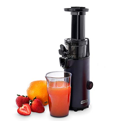 DASH DCSJ255 Deluxe Compact Power Slow Masticating Extractor Easy to Clean, Cold Press Juicer with Brush, Pulp Measuring Cup, Frozen Attachment and Juice Recipe Guide, Black