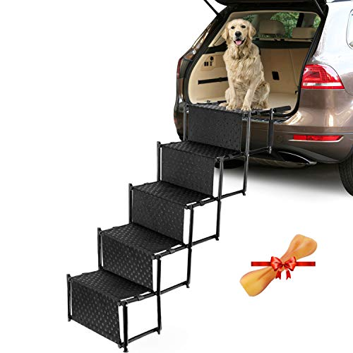 Portable Car Stair for Large Dogs, 5-step Folding Lightweight Pet Ramps with Metal Frame and Wide Steps, Dog Ladder with Nonslip Surface for Couch, High Beds, Trucks, Cars and SUVs, Supports up 150Lbs