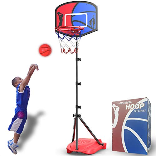 HAHAKEE Kids Basketball Hoop, Height-Adjustable 2.9 FT-6.1 FT, Indoor and Outdoor Basketball Set for Toddlers Age 3-8