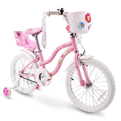 COEWSKE Kid's Bike Steel Frame Children Bicycle Little Princess Style 18 Inch with Training Wheel (Pink, 18 Inch)