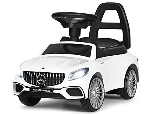 POCO DIVO Ride-on Toy, Licensed Benz AMG Baby Racing Car, 3in1 Walker, Toddler Gliding Scooter, Pulling Cart with Sound & Light, White