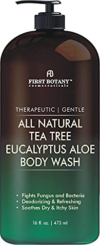 ALL Natural Tea Tree Body Wash - Fights Body Odor, Athlete's Foot, Jock Itch, Nail Issues, Dandruff, Acne, Eczema, Yeast Infection, Shower Gel for Women & Men, Eucalyptus Aloe Skin Cleanser -16 fl oz