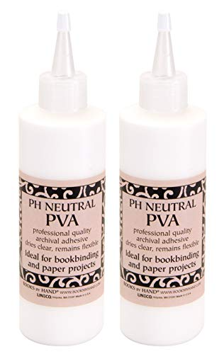 Books by Hand, Pack 2, pH Neutral PVA Adhesive Size 8 oz (BBHM217). Ideal for Bookbinding, Paper Projects, Art, Craft, DIY.