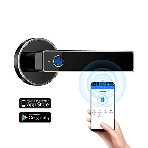 Tiffane Biometric Fingerprint Door Lock,Bluetooth WiFi Door Lock,Biometric Smart Door Lock,Smart Door Lever (Black)