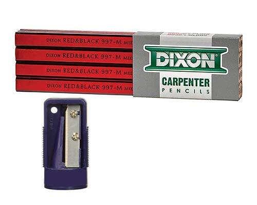 Industrial Carpenter Pencils, Medium Graphite Core, Red/Black, 7', 12-Pack & Carpenter Pencil Sharpener, 2.4 in 6cm