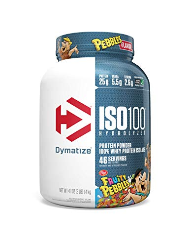 Dymatize ISO100 Hydrolyzed Protein Powder, 100% Whey Isolate Protein, 25g of Protein, 5.5g BCAAs, Gluten Free, Fast Absorbing, Easy Digesting, Fruity Pebbles, 3 Pound