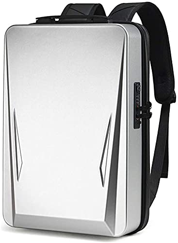 AIMONOCIN Laptop Backpack 15.6-17.3 Inch Fashion School Computer Backpack Water-Repellent Hard shell Casual Daypack with USB Charging Port for/Business/College/Men (silvery)