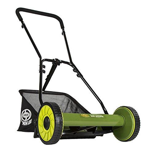 Snow Joe MJ500M 16 inch Manual Reel Mower w/Grass Catcher, 24.5' L x 16' W x 49.2' H, Green/Black